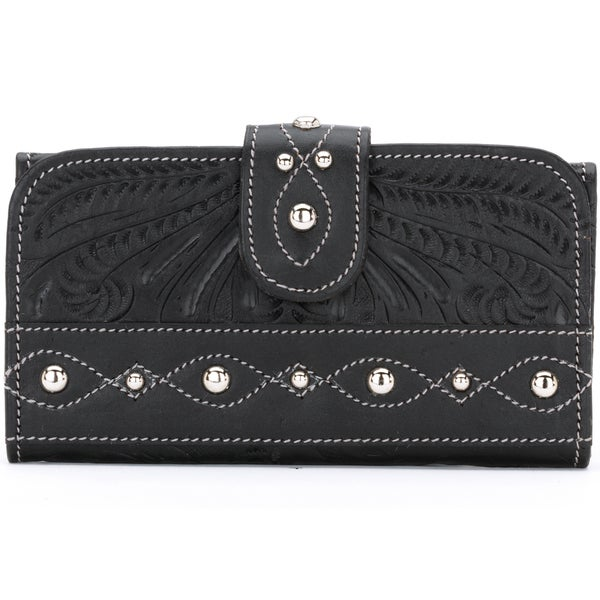 American West Tanned Black Over the Rainbow Tri-Fold Wallet