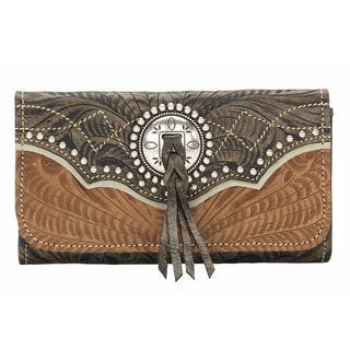 American West Charcoal Brown Heart of Gold Tri-Fold Wallet