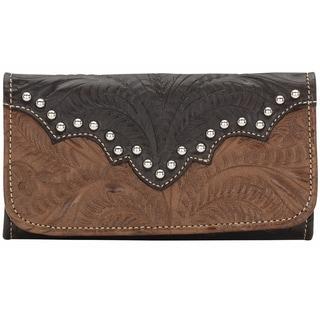 American West Smooth Silver Annies Secret Tri-Fold Wallet