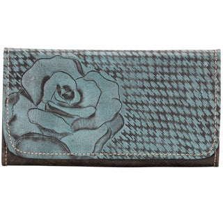 American West Sky Blue Coming up Roses Tri-Fold Wallet