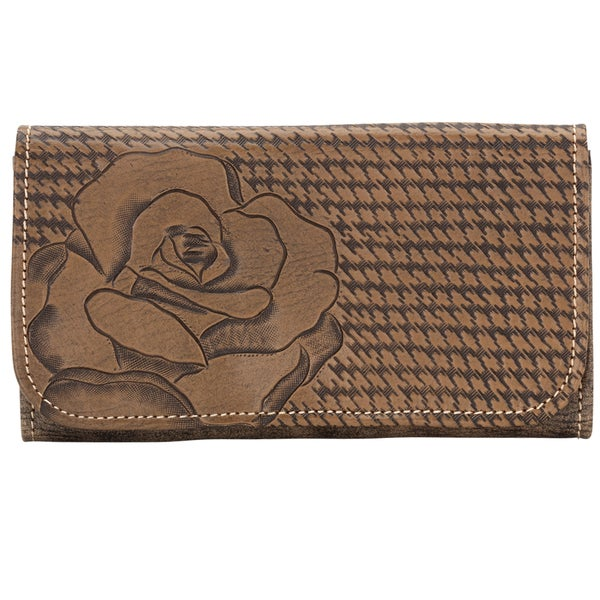 American West Stone Coming Up Roses Tri-Fold Wallet
