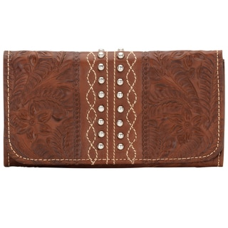 American West Antique Brown Twisted Trail Tri-Fold Wallet