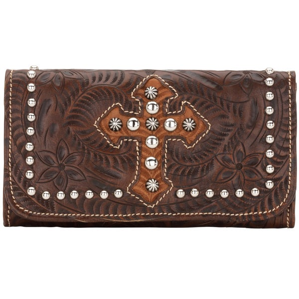 American West Chestnut Brown Tri-Fold Wallet