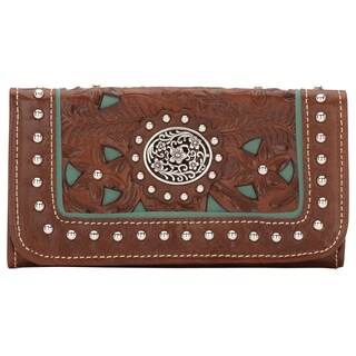 American West Antique Brown Lady Lace Tri-Fold Wallet