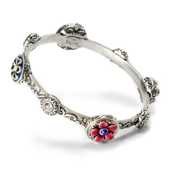 Sweet Romance Pewter Desert Flowers Bangle Bracelet