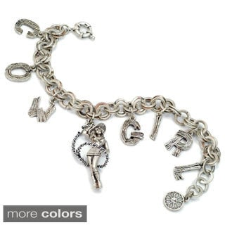 Sweet Romance Pewter Cowgirl Charm Bracelet