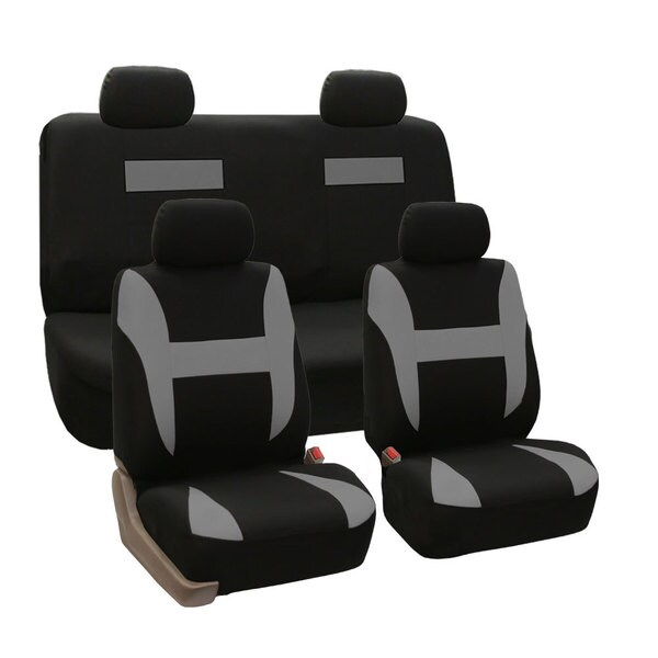 FH Group Grey and Black Pique Fabric Auto Seat Covers
