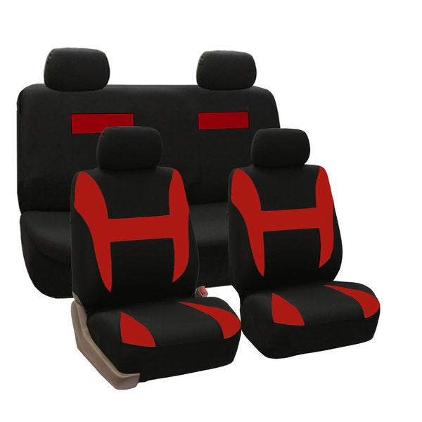 FH Group Red and BlackPique Fabric Auto Seat Covers