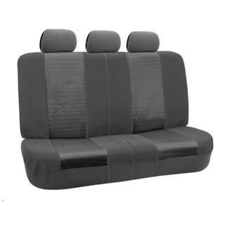 FH Group Black and Black Deluxe 3D Air Mesh Split Auto Bench Seat Cover