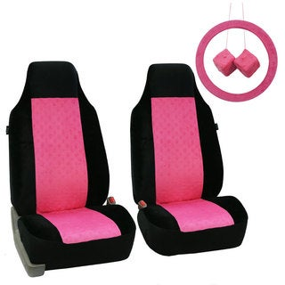 FH Group Pink and Black Minky Heart Velour Car Accessory Set