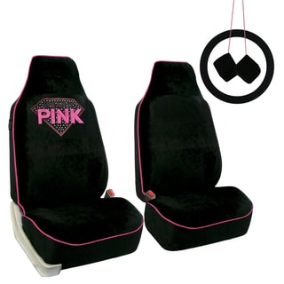 FH Group Pink and Black Diamond Shaped Rhinestone Seat Covers Accessory Set