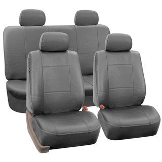 FH Group Solid Grey PU Leather Universal Full Set Solid Bench Seat Covers