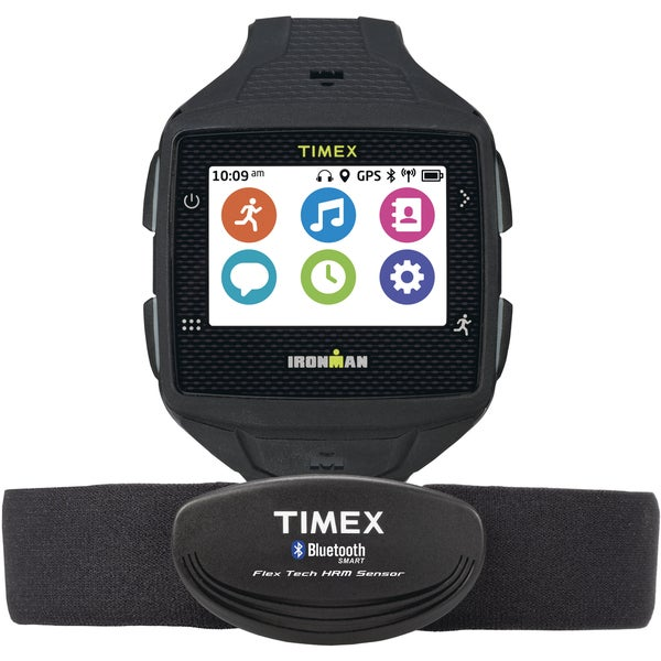 Timex Men's TW5K89100F5 Black Ironman One GPS Watch with HRM Sensor Strap
