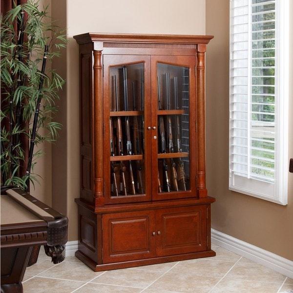 Winchester 12 Gun Solid Oak Wood Glass Display Cabinet