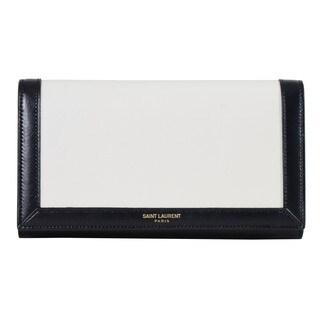 Saint Laurent White/ Black Classic Paris Large Flap Bordered Wallet