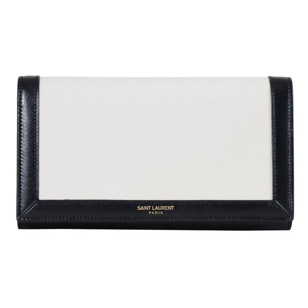 Saint Laurent White/ Black Classic Paris Large Flap Bordered Wallet