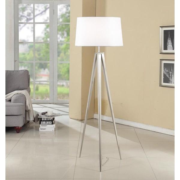 Artiva Hollywood 63 Inch Brushed Nickel Tripod Floor Lamp