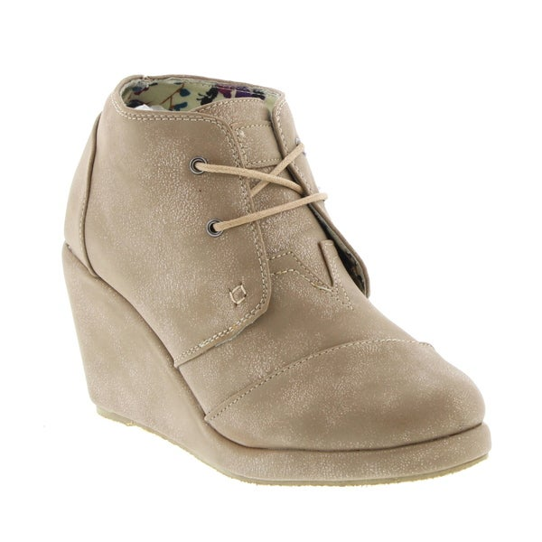 SOS Women's Lace-up Ankle Wedge Booties