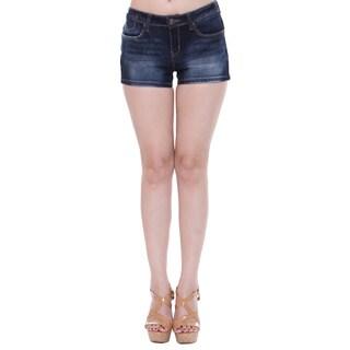Tri Angel Women's T3007-S Mid-rise Distressed Dark Denim Shorts