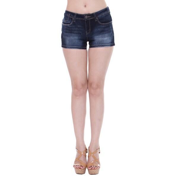 Tri Angel Women's T3007-S Mid-rise Distressed Dark Denim Shorts 15502749