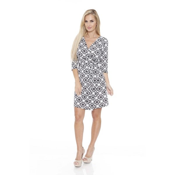 White Mark Women's 'Mariah' Batik Print Wrap Dress