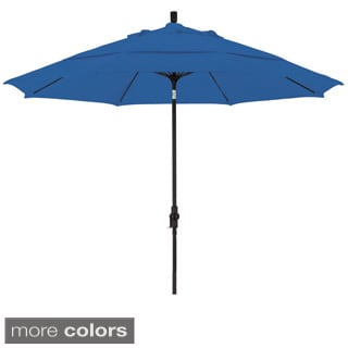 Somette 11-foot Matted Black Finish and Sunbrella Fabric Market Umbrella with Aluminum Center Pole