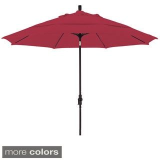 Somette Matted Black Finish and Sunbrella Fabric 11-foot Market Umbrella with Aluminum Center Pole