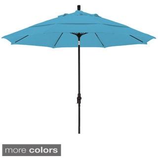Somette 11-foot Matted Black Finish and Olefin Fabric Market Umbrella Aluminum Center Pole