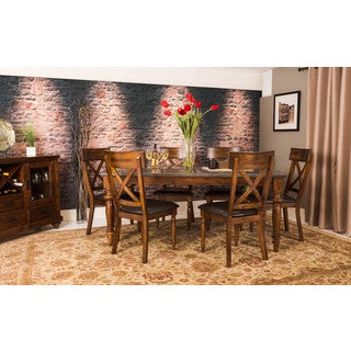 Somette Eastlake Almond Asian Hardwood Blue Stone 7-piece Table Set