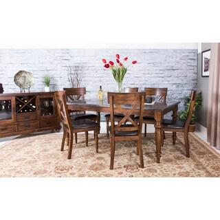 Somette Eastlake Almond Asian Hardwood Blue Stone 7-piece Table Set with Sideboard Server