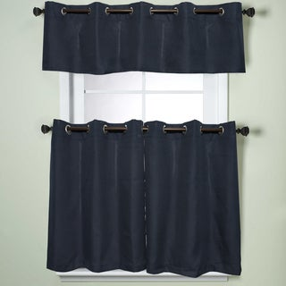 Modern Sublte Textured Solid Navy Blue Kitchen Curtains With Grommets Tiers