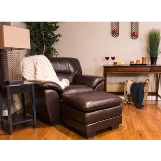 Somette Pillow Top Chocolate Leather Cocktail Ottoman