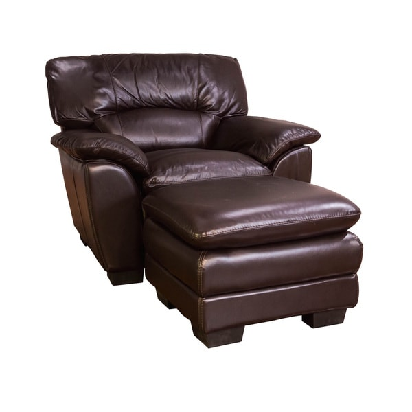 Oversized Chocolate Leather Chair And Ottoman Set