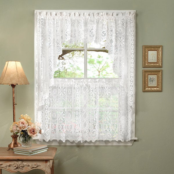 Luxurious Old World Style White Lace Kitchen Curtains Tiers, Shade and Valances