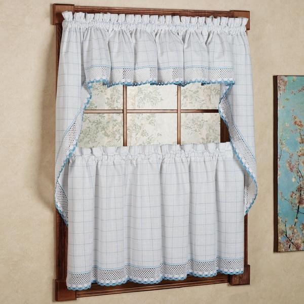 White/ Blue Window Pane Pattern And Crotchet Trim Kitchen Curtains