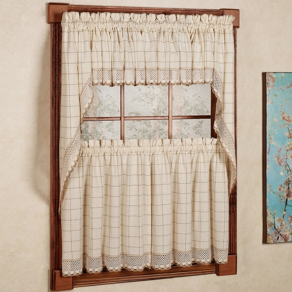 100-percent Cotton Classic Ecru/ Toast Window Pane Pattern and Crotchet Trim Kitchen Curtains