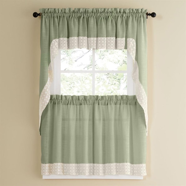 Sage Country Style Kitchen Curtains with White Daisy Lace Accent