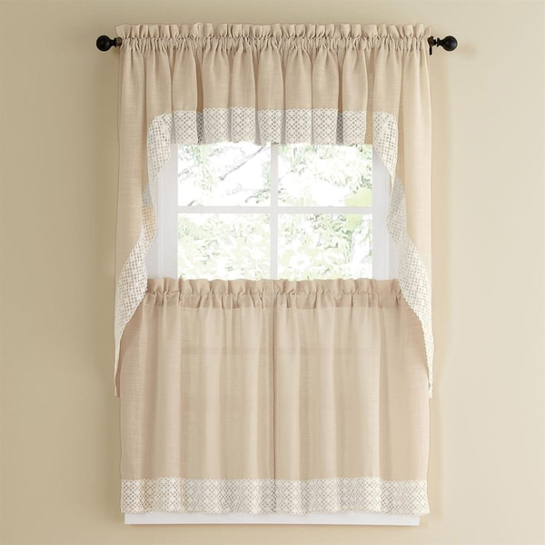 French Vanilla Country Style Kitchen Curtains With White