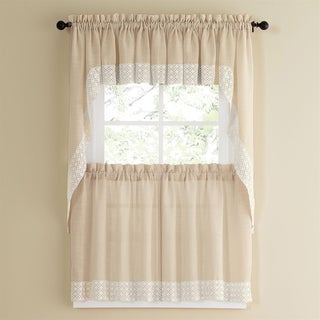French Vanilla Country Style Kitchen Curtains with White Daisy Lace Accent