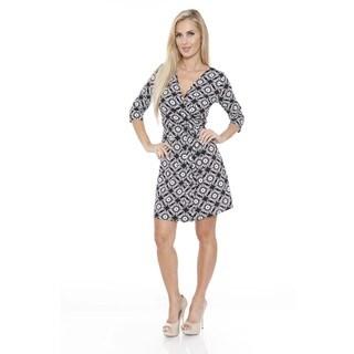 White Mark Women's 'Mariah' Arabesque Print Wrap Dress
