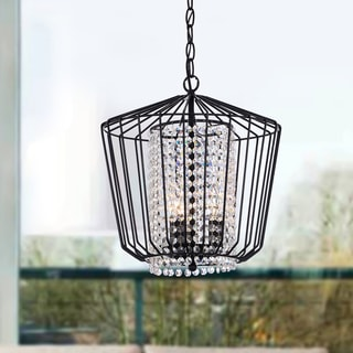 Yesenia Antique Black Finish Iron Cage Crystal Chandelier