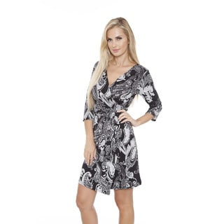 White Mark Women's 'Mariah' Paisley Print Wrap Dress