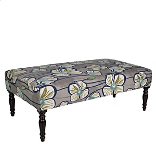 Better Living Jemma Gray and Turquoise Floral Cocktail Ottoman