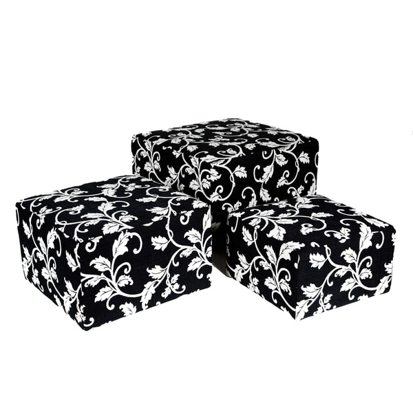 Better Living Square Black and White Vine Nesting Ottomans (Set of 3)