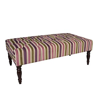 Better Living Teague Purple and Green Stripe Tufted Cocktail Ottoman