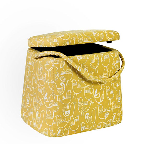 Better Living Modern Yellow Bird Purse Storage Ottoman