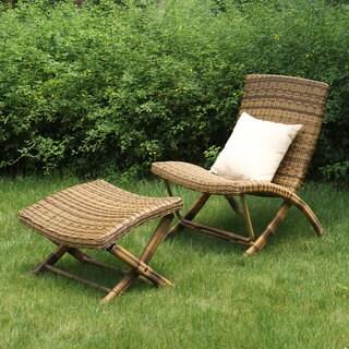 Portfolio Aldrich Brown Indoor/Outdoor Resin Wicker 2 Piece Chair and Ottoman Set