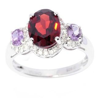 Sterling Silver Garnet Purple Sapphire and White Zircon Ring