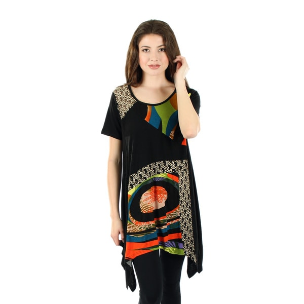 Women's Short Sleeve Black Multi Abstract Pattern Tunic with Sidetails