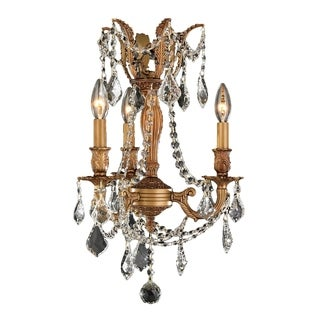 Windsor Collection 3-light French Gold Finish and Clear Crystal 13-inch Mini Chandelier